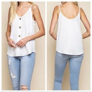 Mittoshop white button down tank